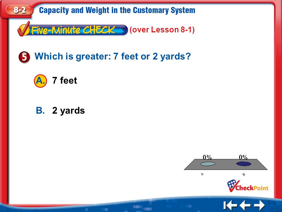 Which is greater: 7 feet or 2 yards