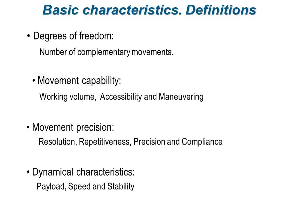 Basic characteristics. Definitions
