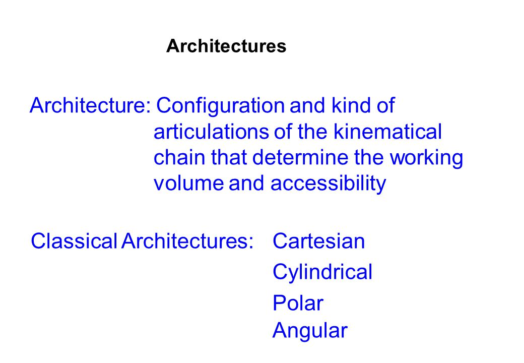 Classical Architectures: Cartesian Cylindrical Polar Angular