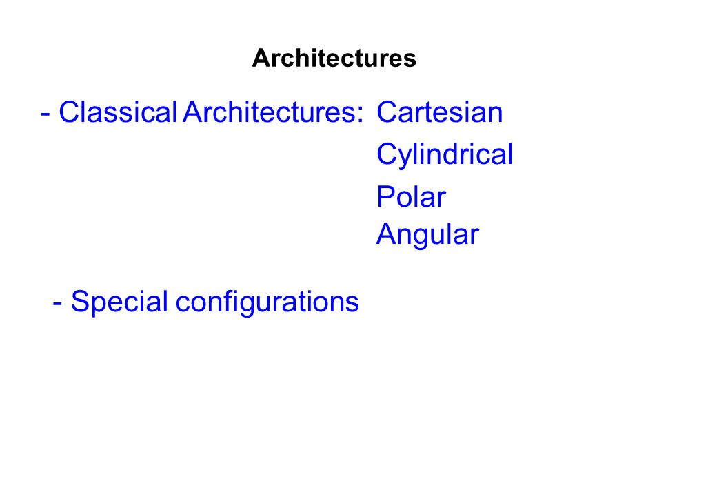 - Classical Architectures: Cartesian Cylindrical Polar Angular