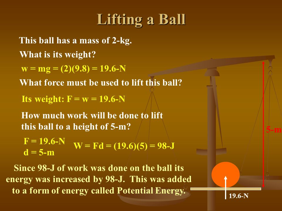 Lifting a Ball This ball has a mass of 2-kg. What is its weight