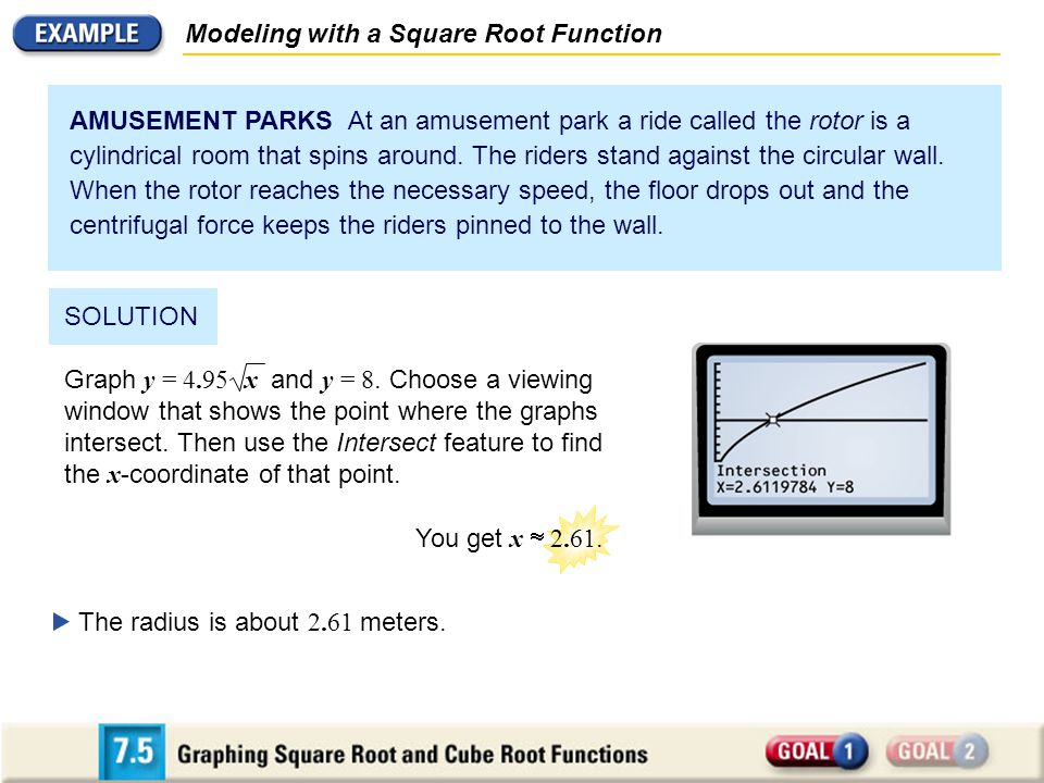Modeling with a Square Root Function