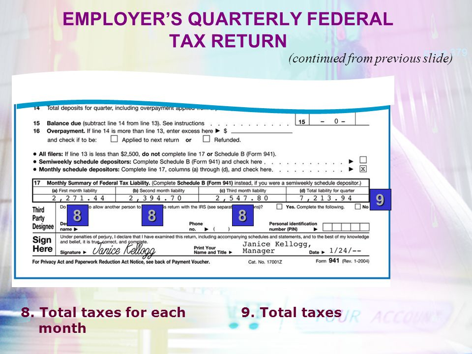EMPLOYER'S QUARTERLY FEDERAL TAX RETURN