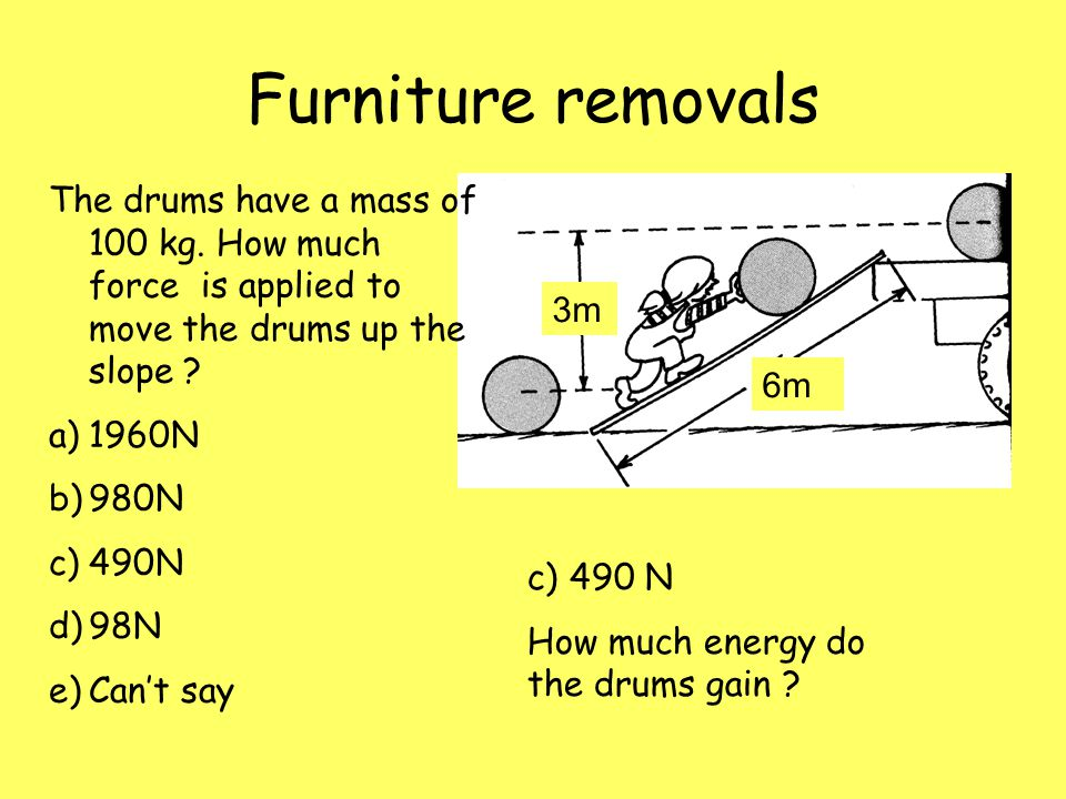Furniture removals The drums have a mass of 100 kg. How much force is applied to move the drums up the slope