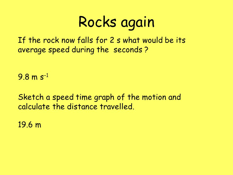 Rocks again If the rock now falls for 2 s what would be its average speed during the seconds 9.8 m s-1.