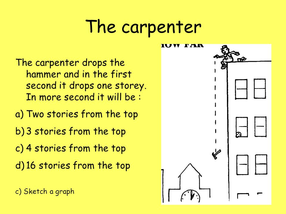 The carpenter The carpenter drops the hammer and in the first second it drops one storey. In more second it will be :