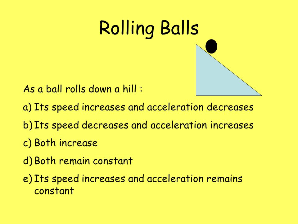 Rolling Balls As a ball rolls down a hill :