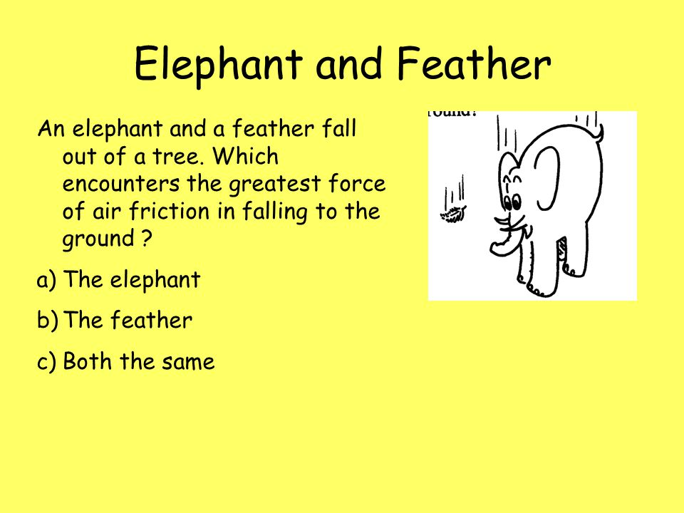 Elephant and Feather An elephant and a feather fall out of a tree. Which encounters the greatest force of air friction in falling to the ground