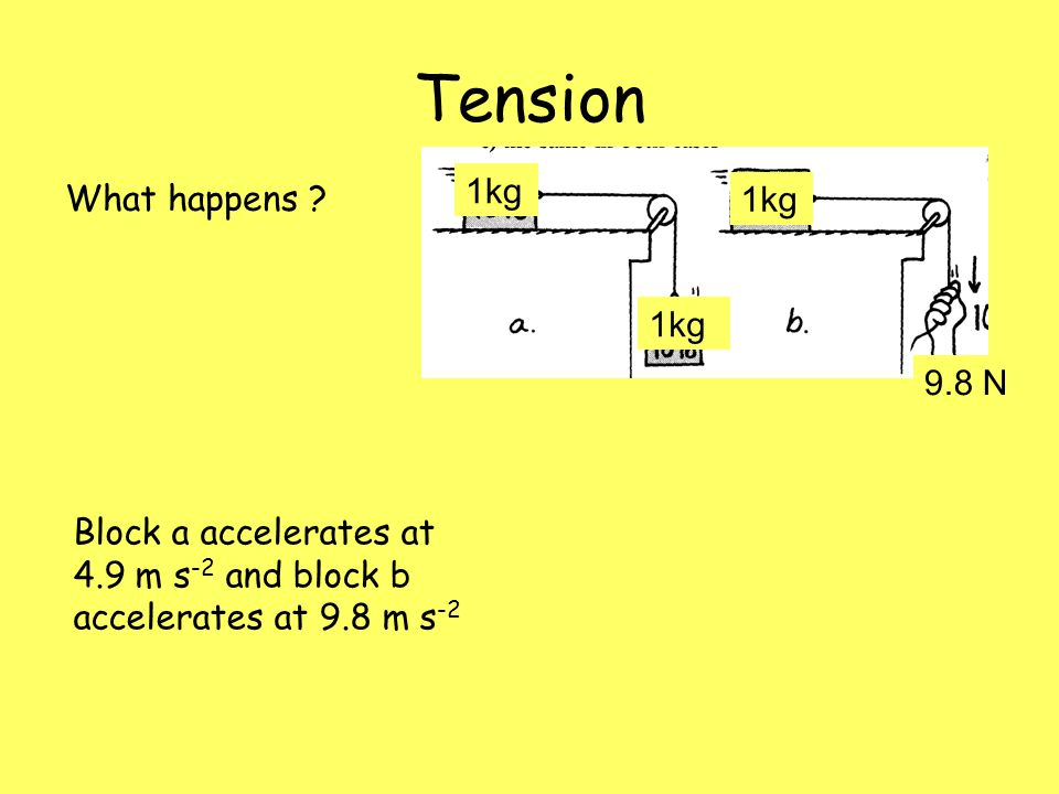Tension 1kg What happens 1kg 1kg 9.8 N