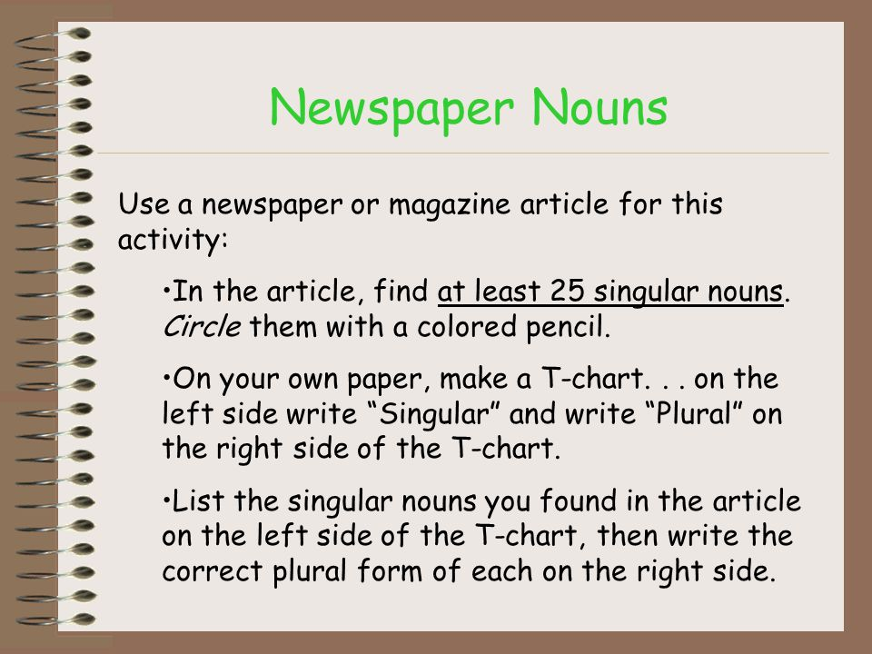 Newspaper Nouns Use a newspaper or magazine article for this activity: