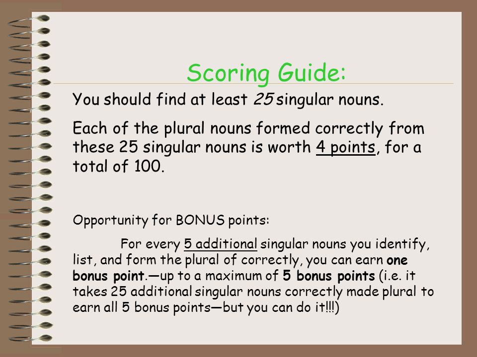 Scoring Guide: You should find at least 25 singular nouns.