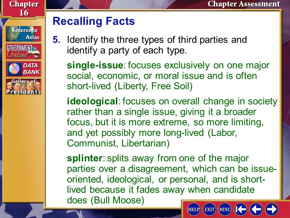 Recalling Facts 5. Identify the three types of third parties and identify a party of each type.