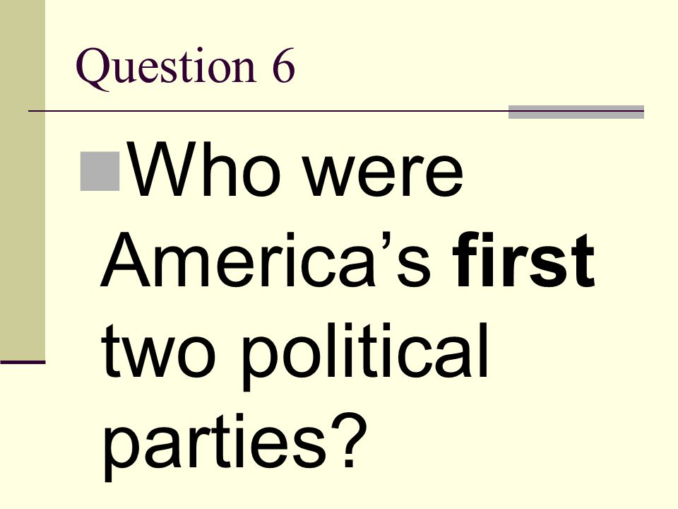 Who were America's first two political parties