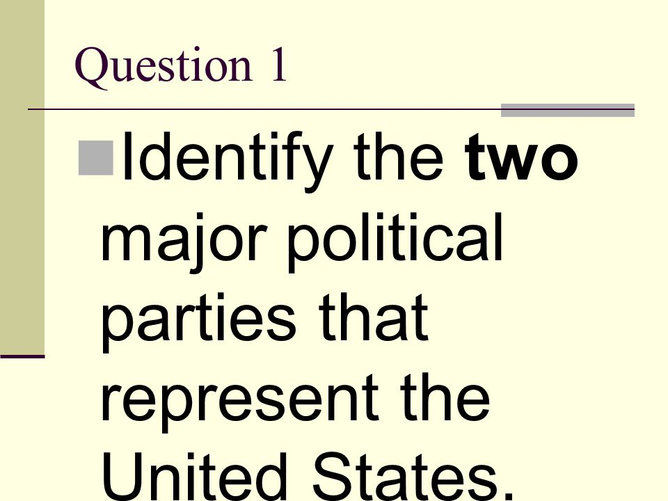 Question 1 Identify the two major political parties that represent the United States.