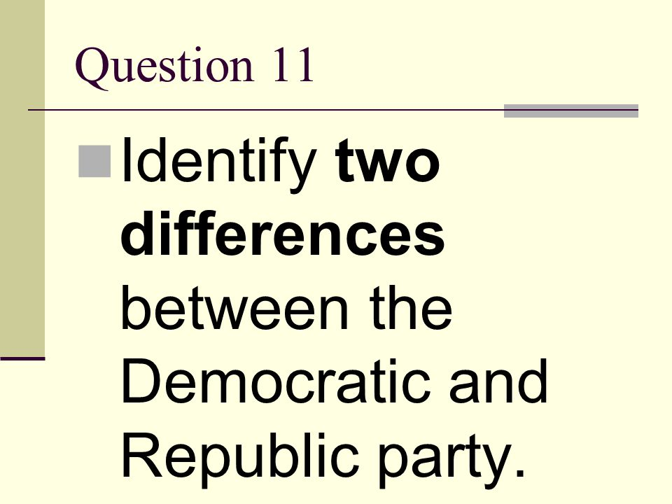 Identify two differences between the Democratic and Republic party.