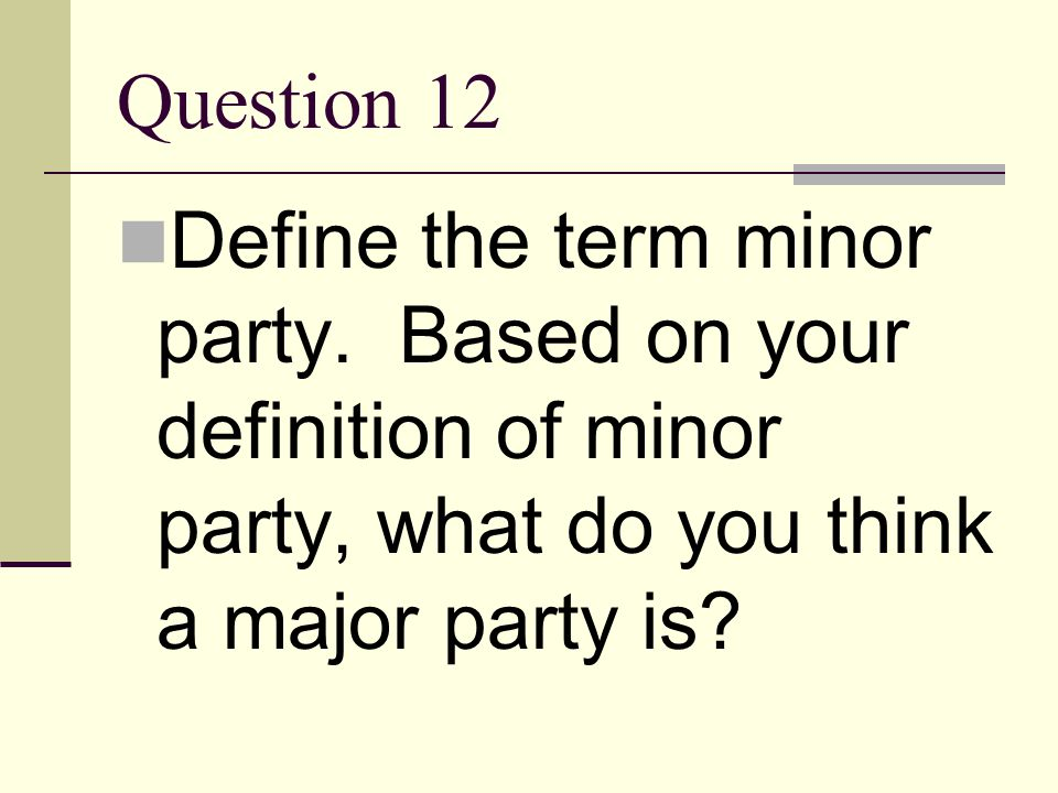 Question 12 Define the term minor party.