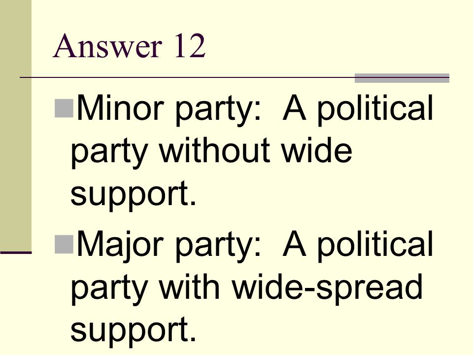 Answer 12 Minor party: A political party without wide support.