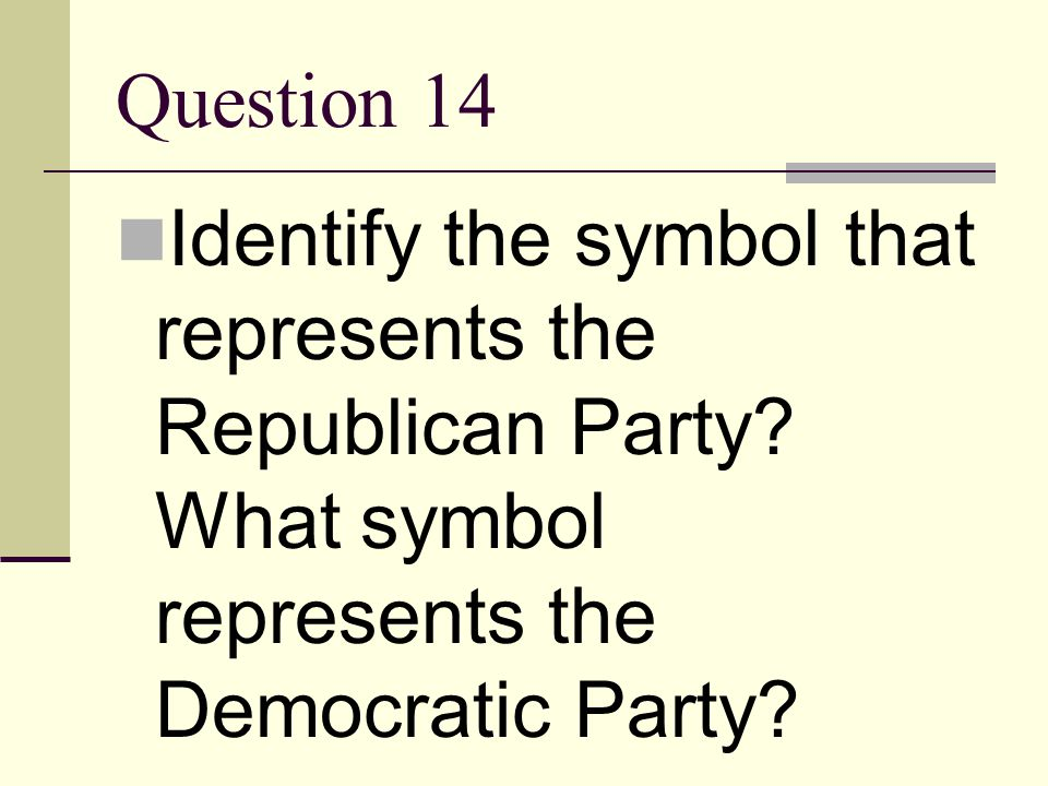 Question 14 Identify the symbol that represents the Republican Party.