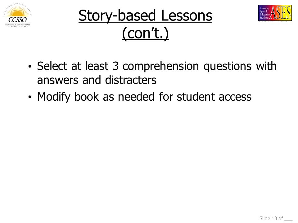 Story-based Lessons (con't.)