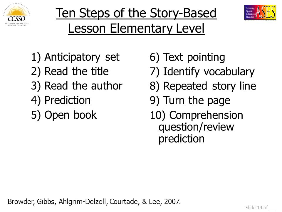 Ten Steps of the Story-Based Lesson Elementary Level