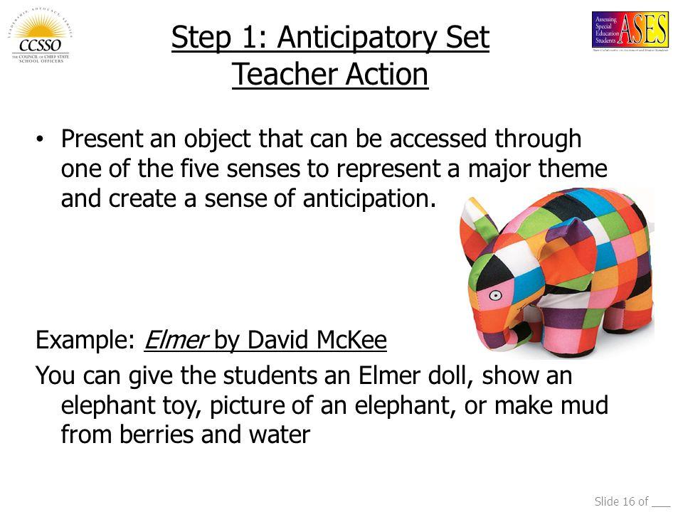 Step 1: Anticipatory Set Teacher Action