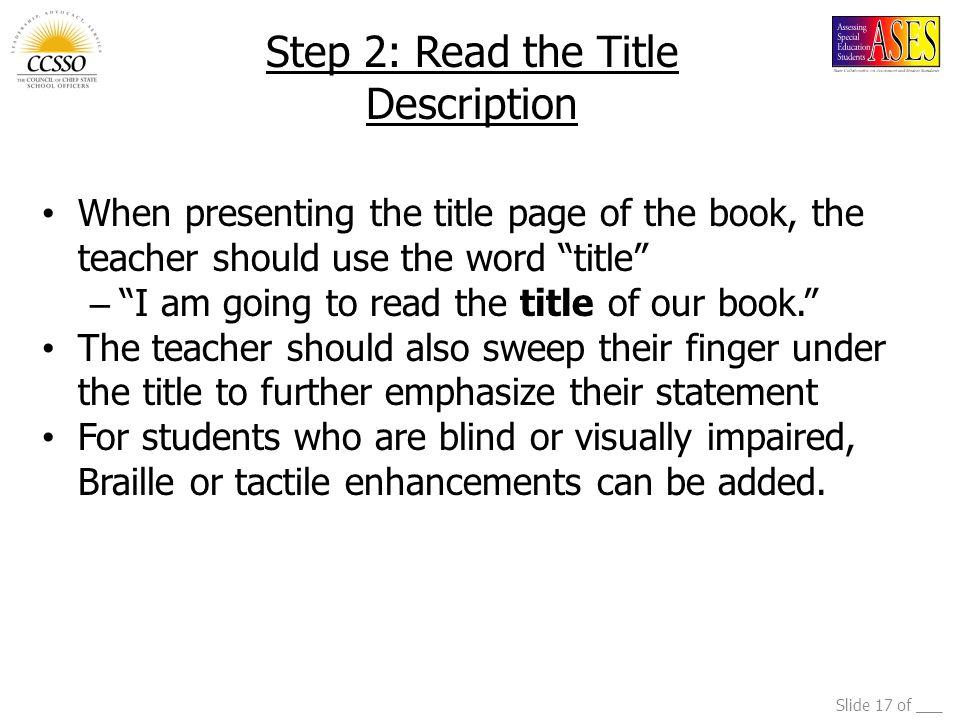 Step 2: Read the Title Description