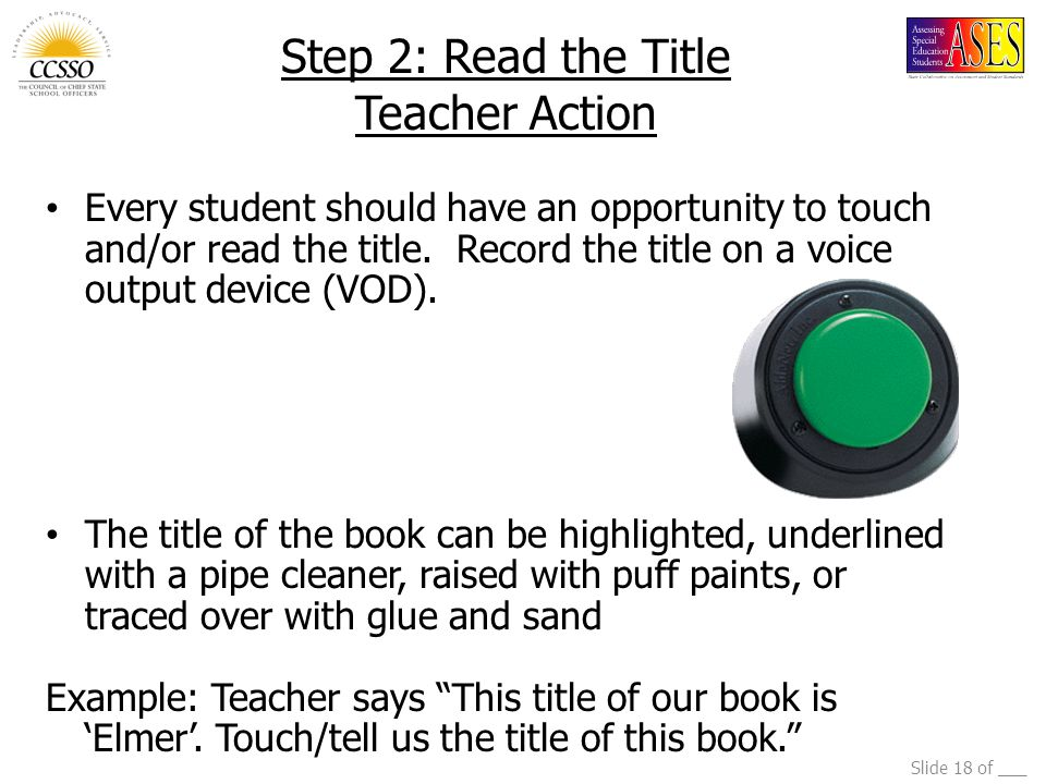 Step 2: Read the Title Teacher Action