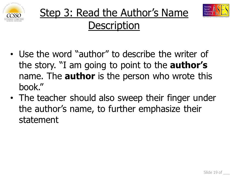 Step 3: Read the Author's Name Description