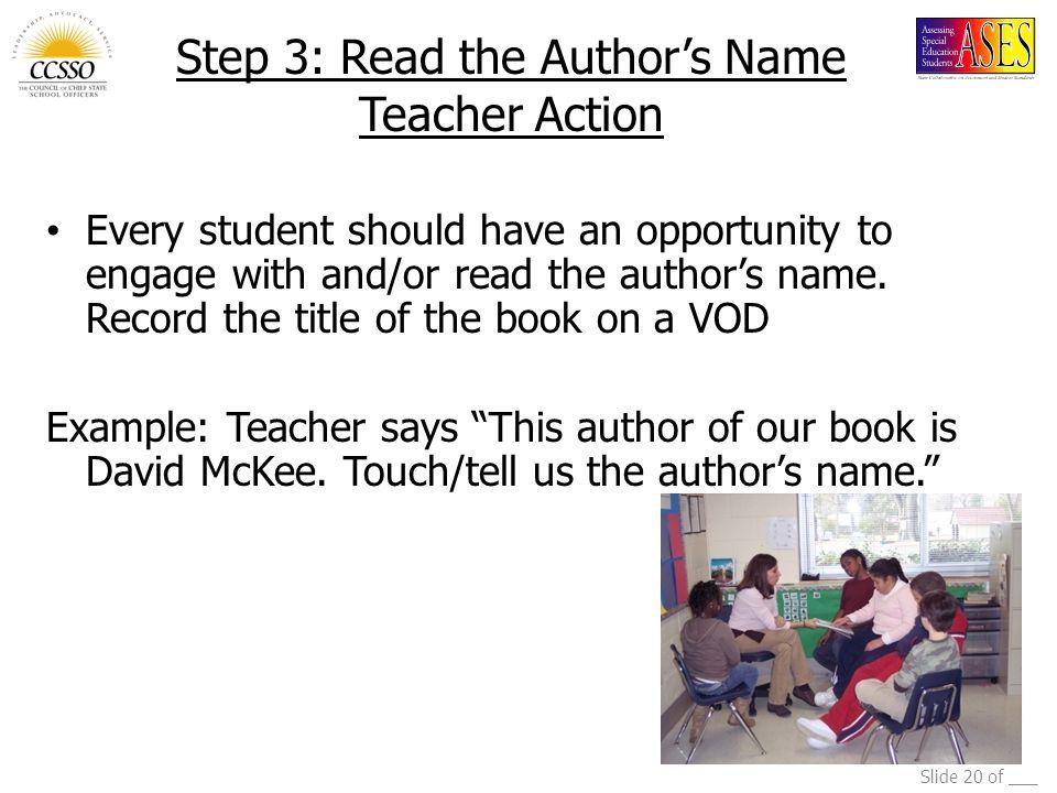 Step 3: Read the Author's Name Teacher Action