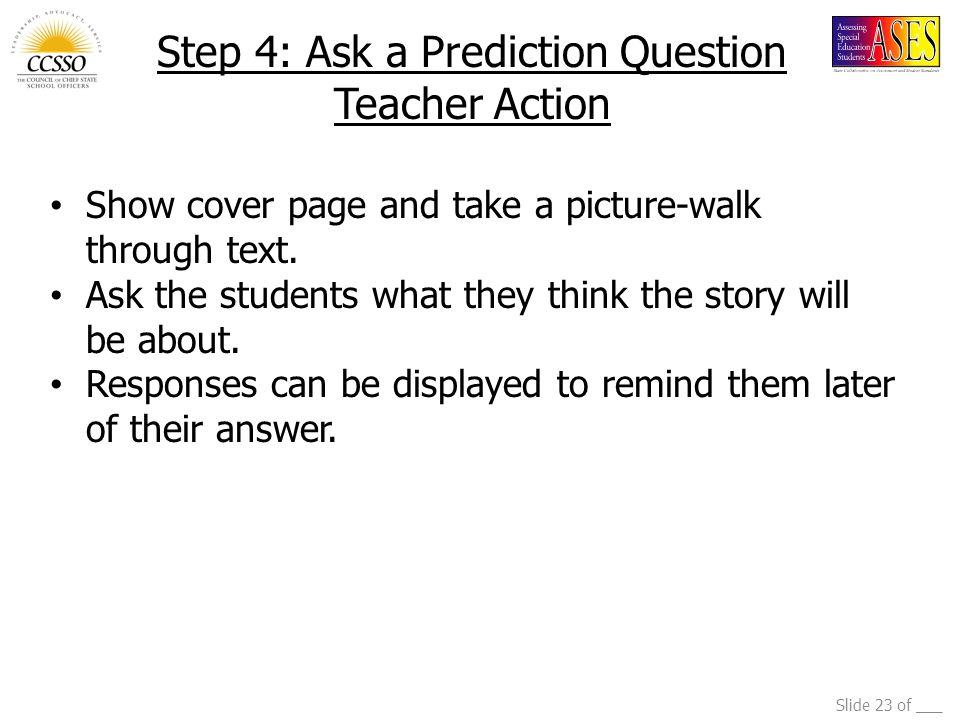 Step 4: Ask a Prediction Question Teacher Action