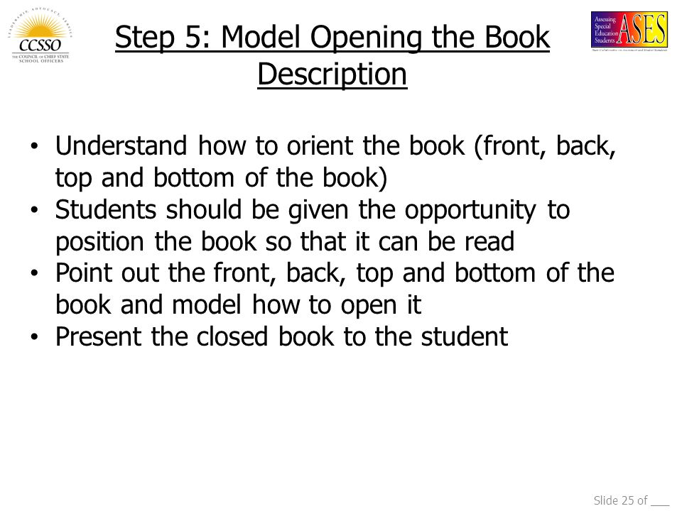 Step 5: Model Opening the Book Description