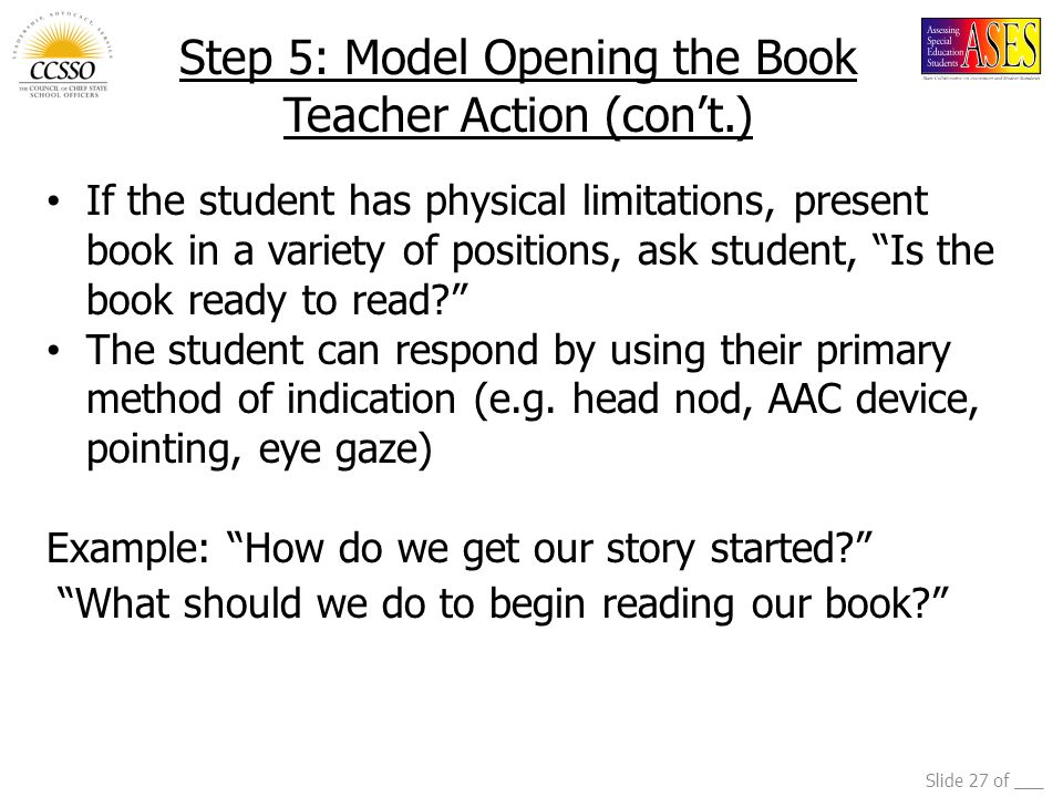 Step 5: Model Opening the Book Teacher Action (con't.)