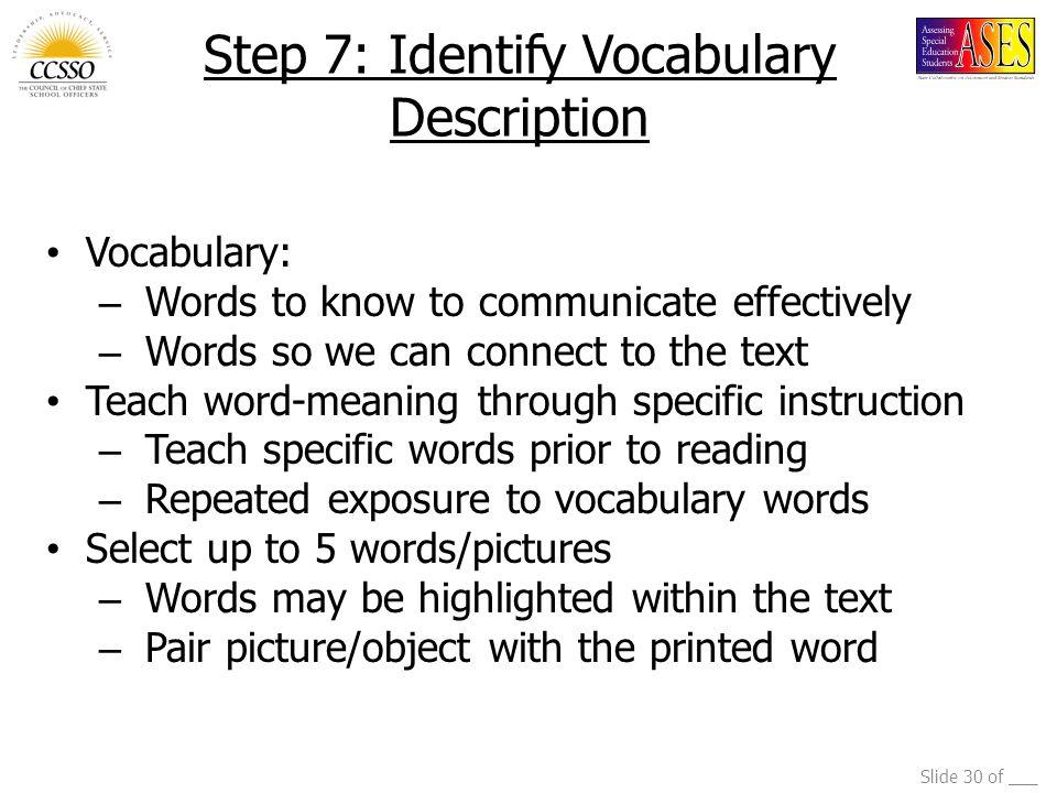 Step 7: Identify Vocabulary Description