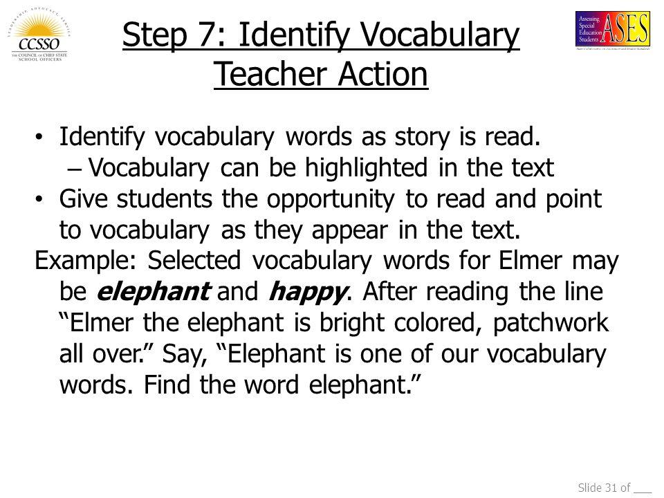 Step 7: Identify Vocabulary Teacher Action