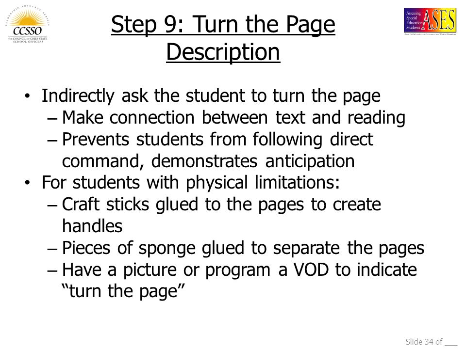 Step 9: Turn the Page Description
