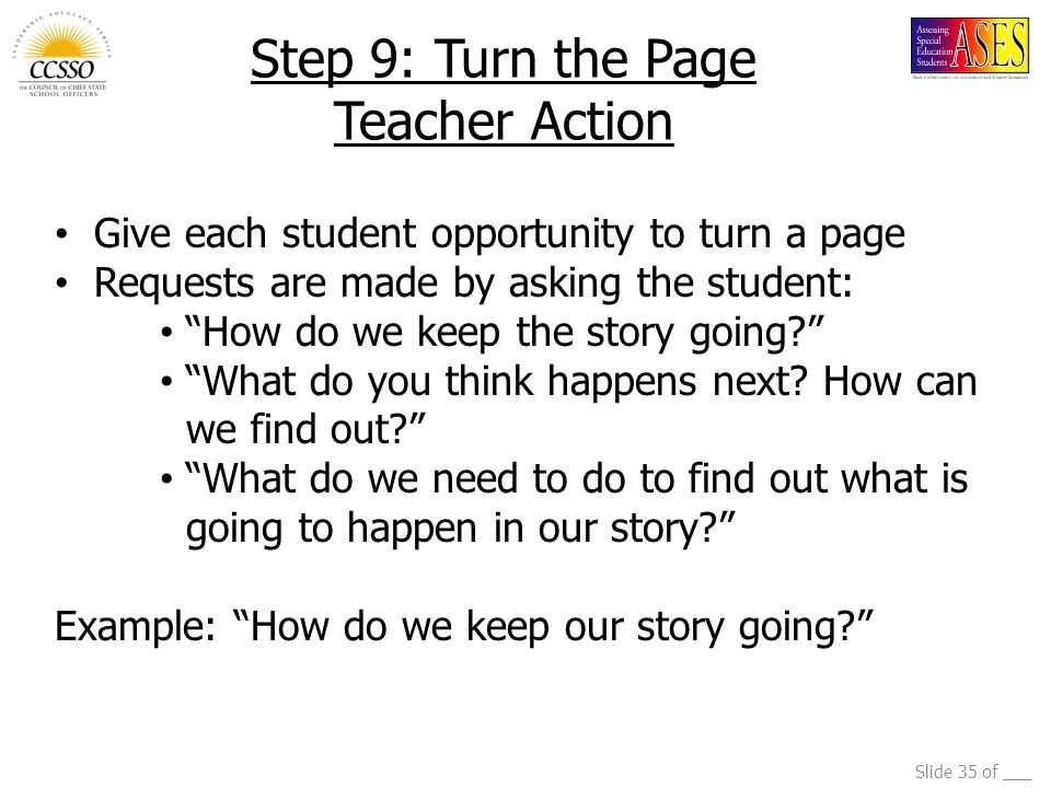 Step 9: Turn the Page Teacher Action