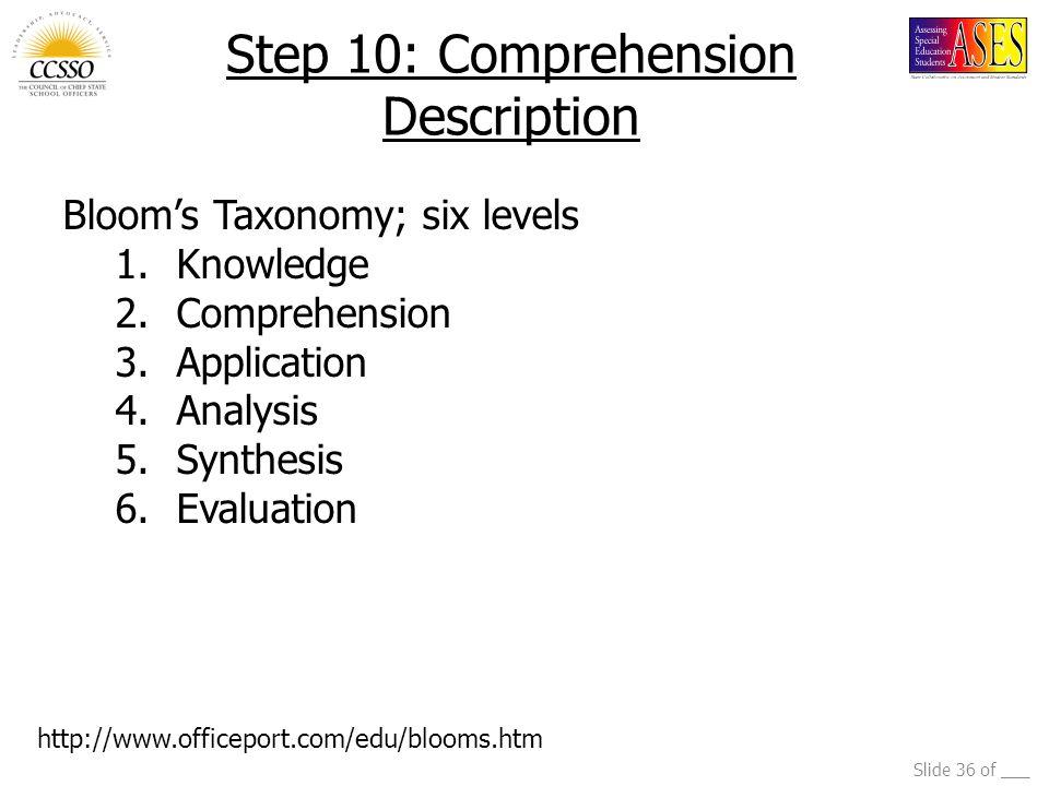 Step 10: Comprehension Description