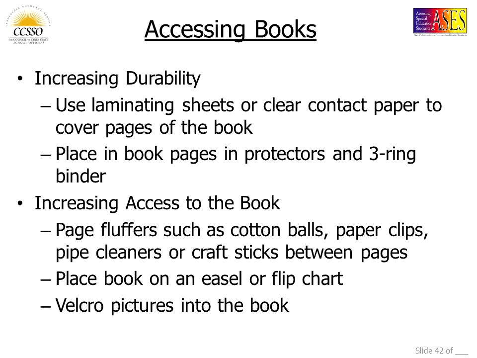 Accessing Books Increasing Durability