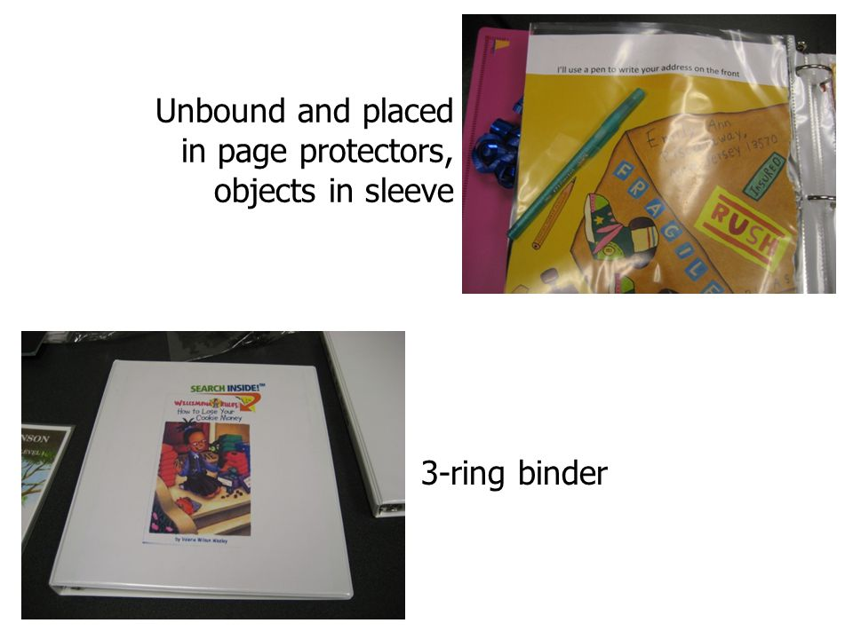 Unbound and placed in page protectors, objects in sleeve