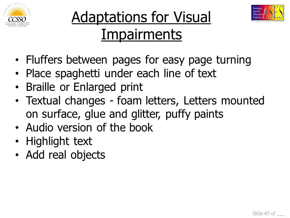Adaptations for Visual Impairments