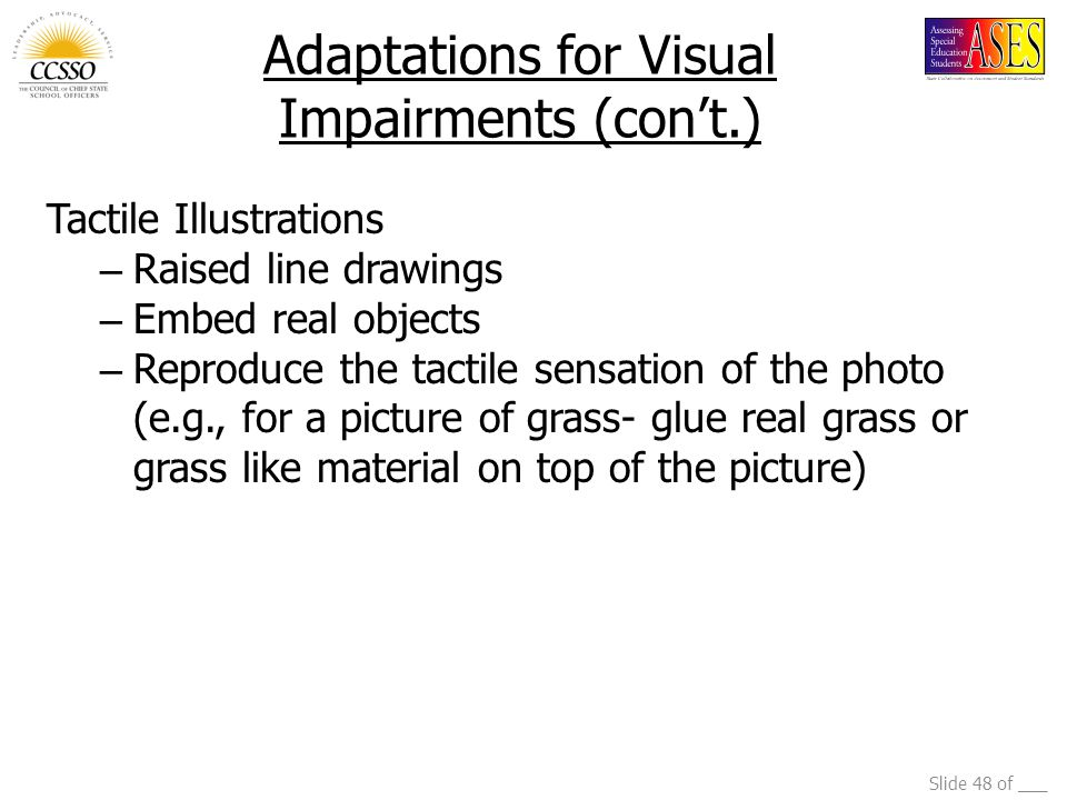 Adaptations for Visual Impairments (con't.)