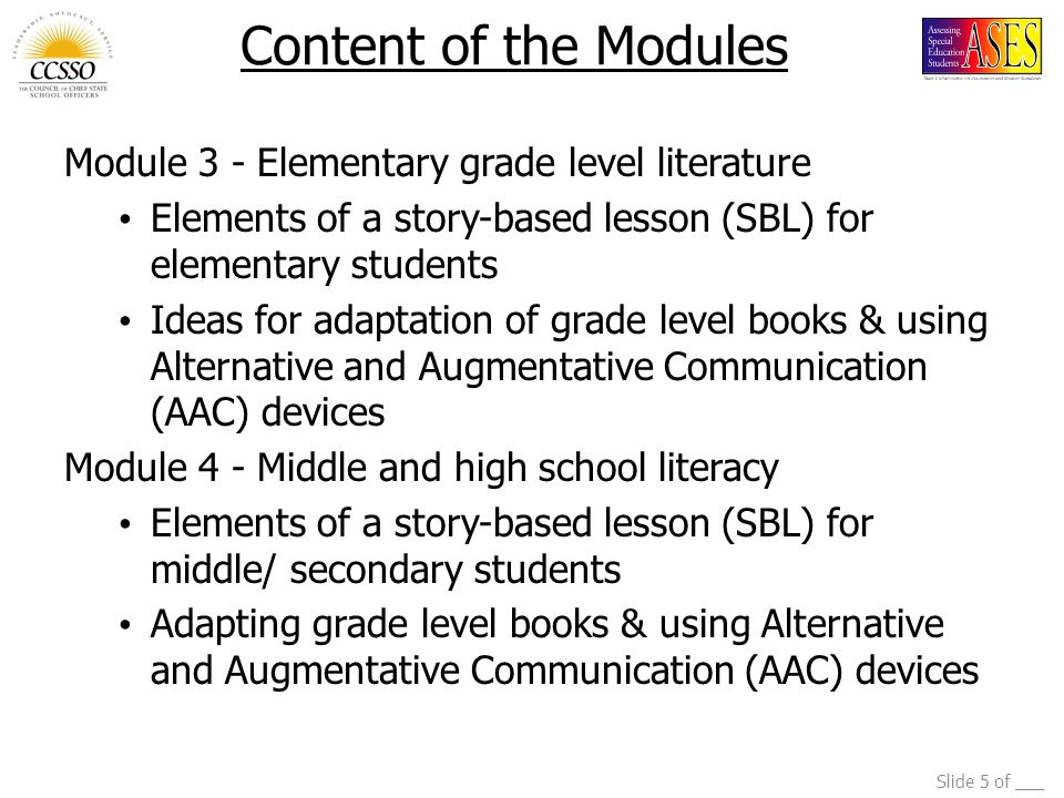 Content of the Modules Module 3 - Elementary grade level literature