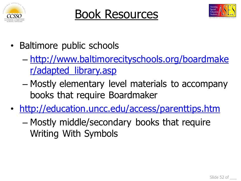 Book Resources Baltimore public schools