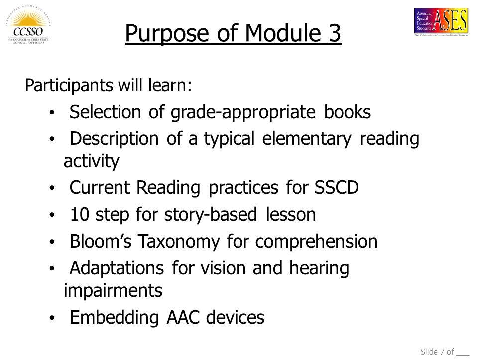 Purpose of Module 3 Selection of grade-appropriate books