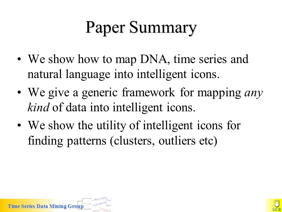 Paper Summary We show how to map DNA, time series and natural language into intelligent icons.