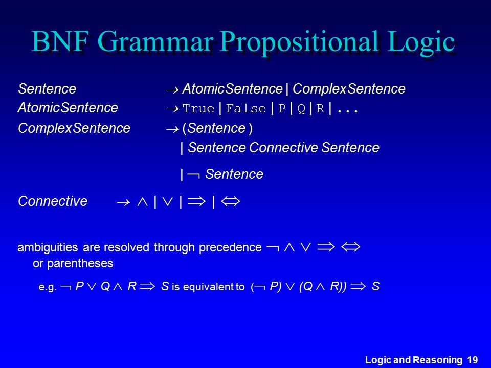 BNF Grammar Propositional Logic