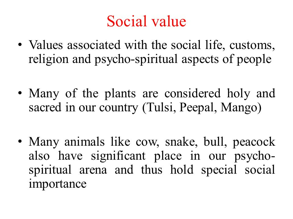 Social value Values associated with the social life, customs, religion and psycho-spiritual aspects of people.