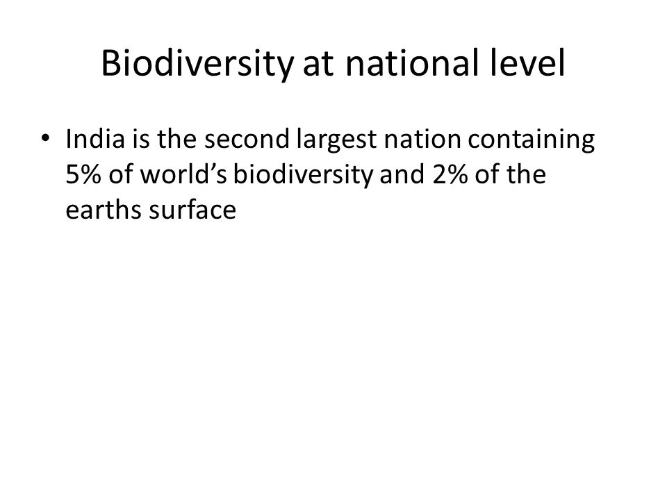 Biodiversity at national level