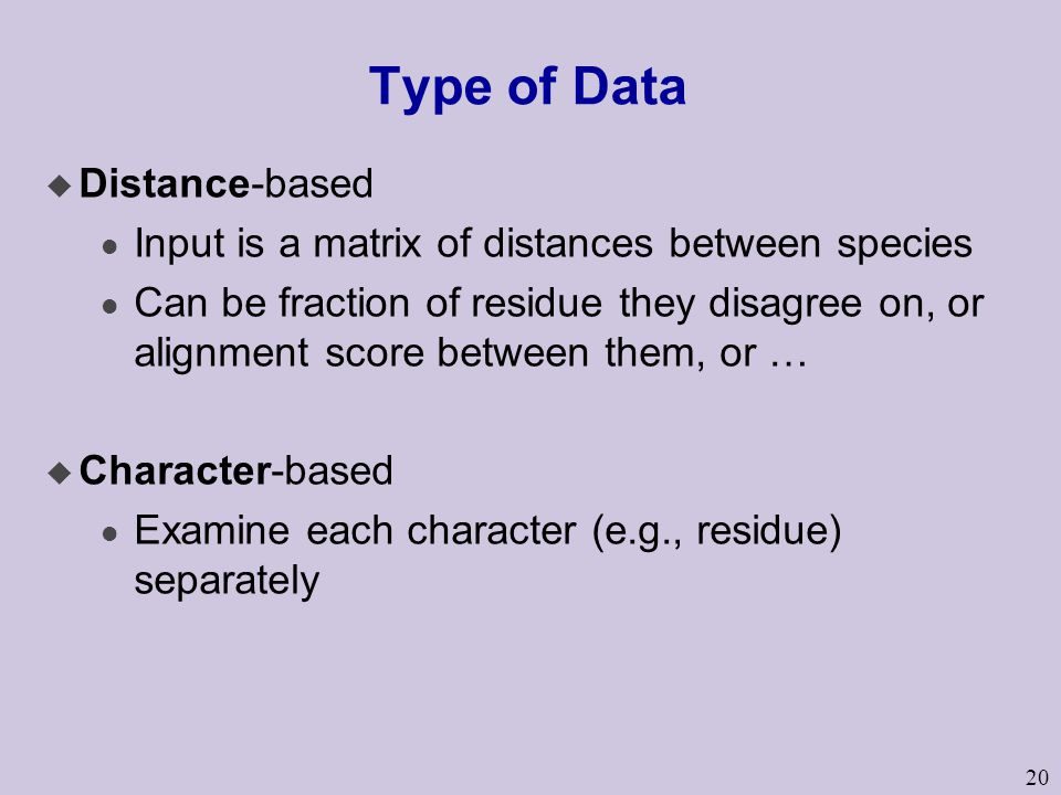 Type of Data Distance-based