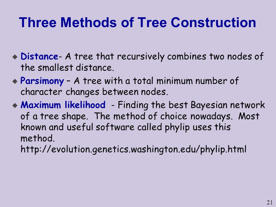 Three Methods of Tree Construction